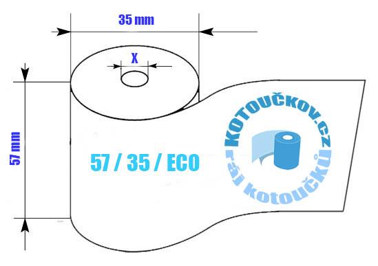 Rozměry termo kotoučku 57/35 ECL